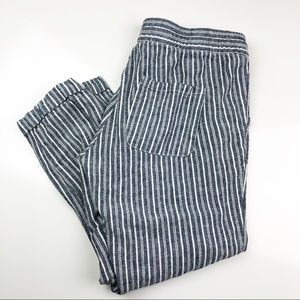 Old Navy Linen Cropped Pants Blue Stripe Small
